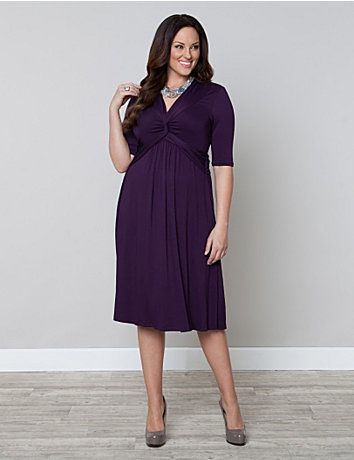 Sure to be a hit; our Trinity Twist Dress was inspired by our best-selling Caycee Twist Top. Modesty is key with a double twist detail at the neckline that twists into a cinching waistband that continues around the back to emphasize the waist. Made from a soft jersey knit material and structured with a becoming empire style waist, this dress might just be the most comfortable style in your wardrobe. lanebryant.com