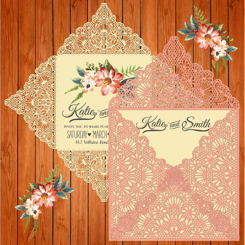 Wedding card invitation template, figures, lace (ai, eps, svg ...