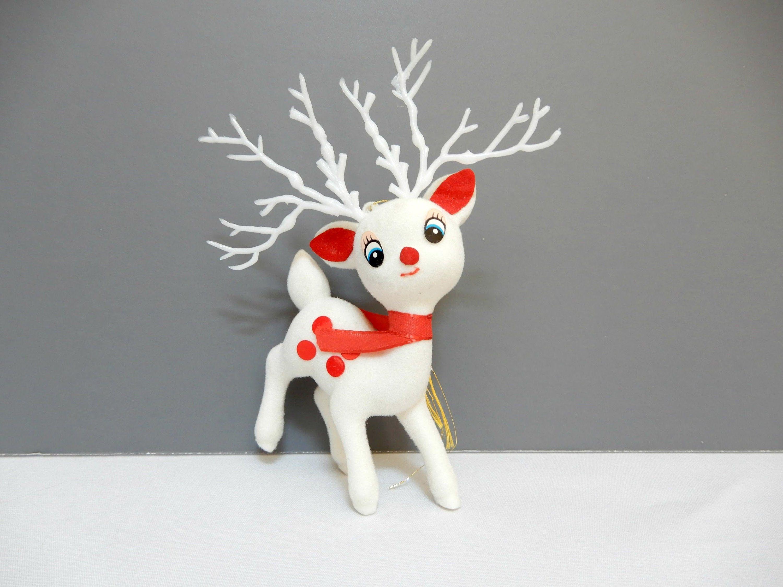 Vintage Reindeer Ornament Nos Flocked White Deer Figurine 5 5 Tall Novelty Christmas Deco Novelty Christmas Decorations Vintage Reindeer Vintage Christmas