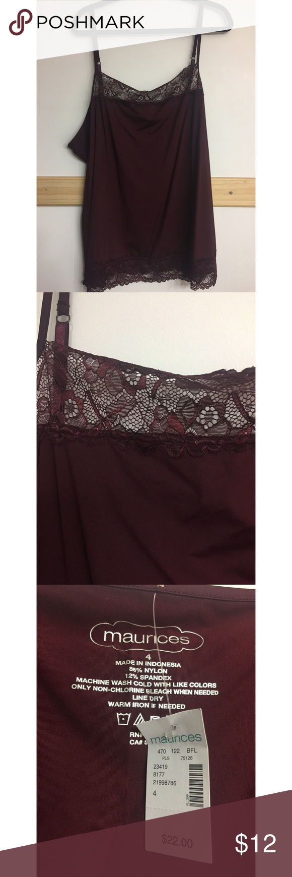 Plus size lace trim cami Beautiful lace trim cami in the color mulberry. BRAND NEW, with tags. Perfect paired with a cardigan. Has adjustable straps. Maurices Tops Camisoles