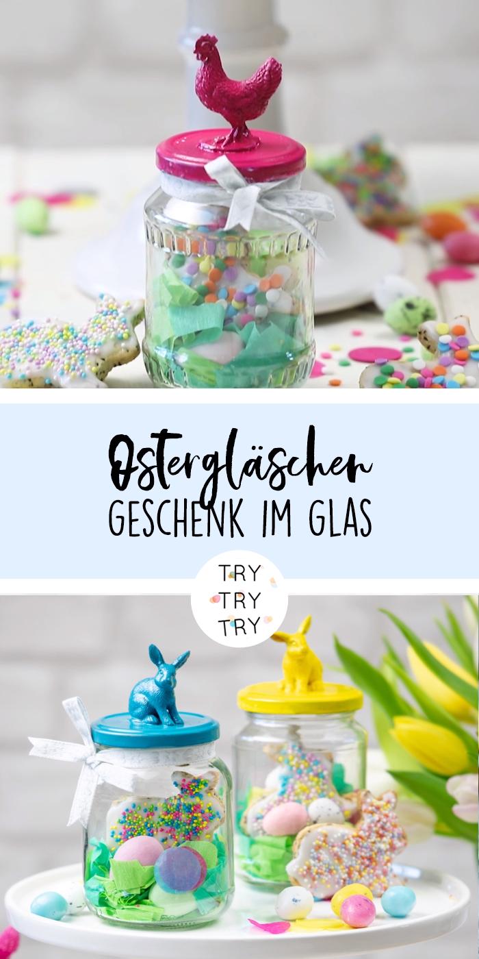 2 Geschenke für Ostern: Osterhasen-Chiakekse und Upcycling-Ostergläser #recyclingbasteln