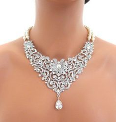 Httpmedia cache cd0pinimg236x7e4302 bridal bib statement necklace wedding necklace by junglespirit Image collections