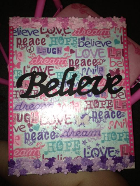 Great way to use scrap book paper, decoupage,canvas, and a wooden sign to make it pop,