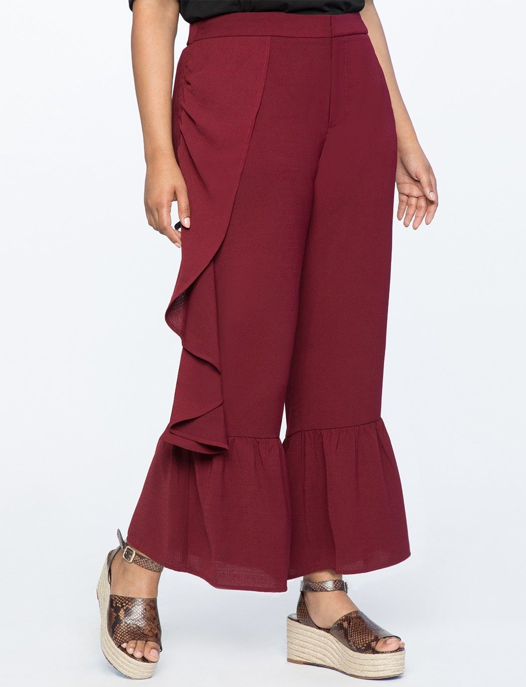 6149f1ad152 Eloquii Asymmetric Ruffle High Waisted Trouser - 14