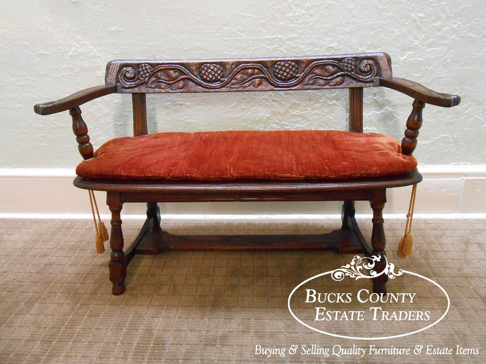 1920u0027s Solid Feudal Oak Carved Jacobean Style Carved Bench Settee | EBay