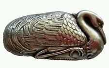 Antique Nesting Swan Japanese Silver Match Safe Vesta Case RARE!
