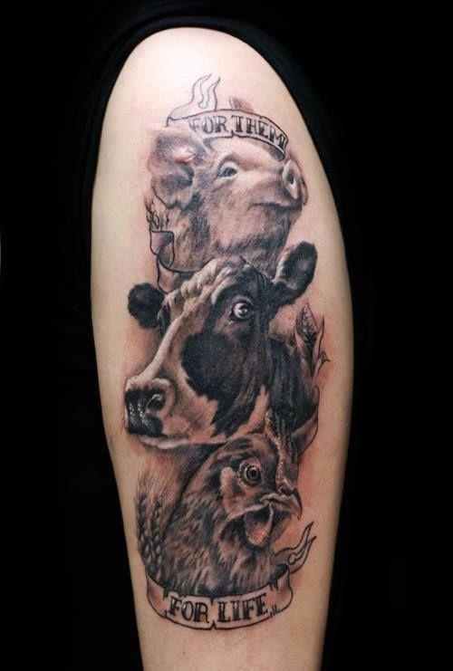 Vegan For Them Cute Animal Tattoos Tattoos Chicken Tattoo