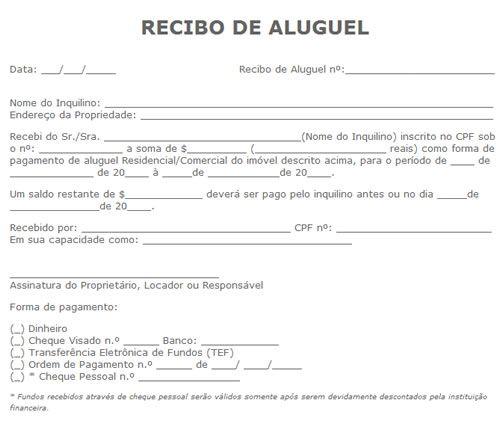 Recibo De Aluguel Online Para Baixar Recibo De Aluguel