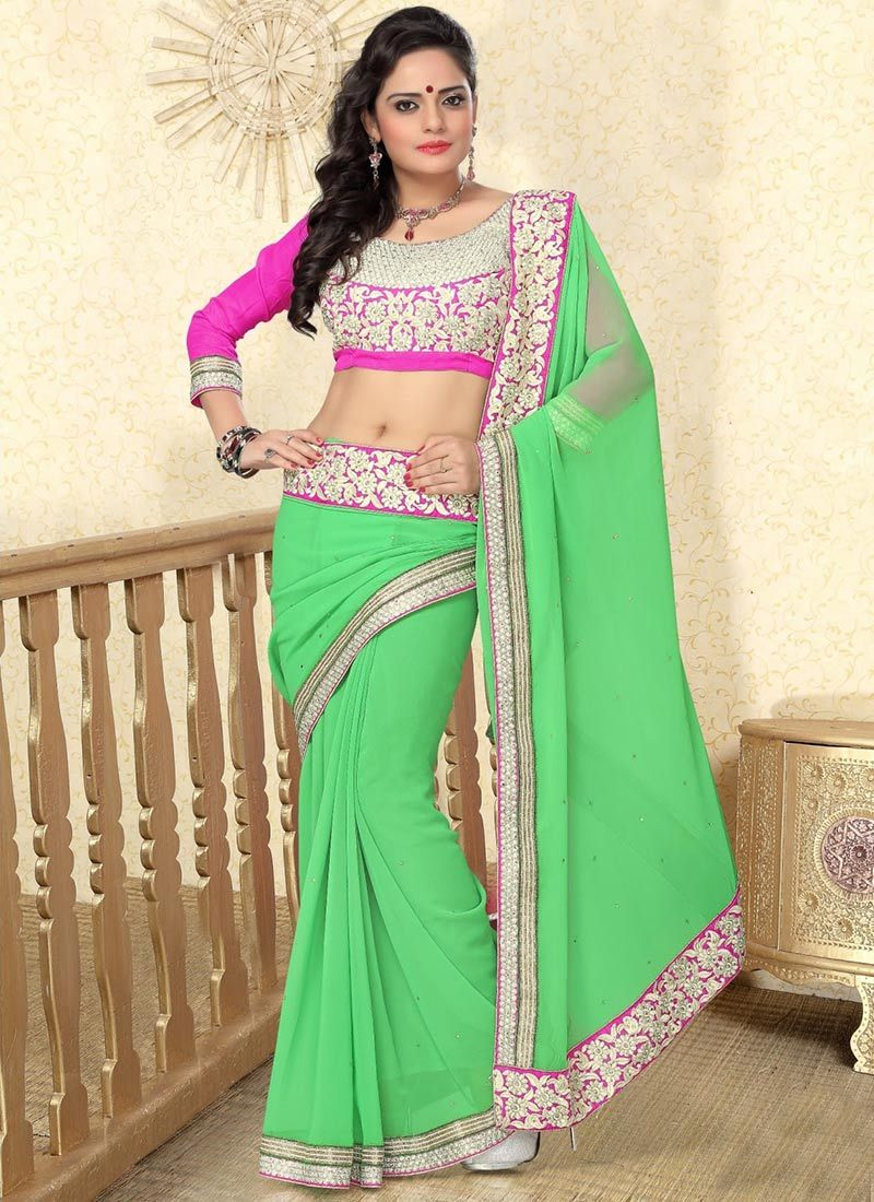 Green Faux Georgette #Saree