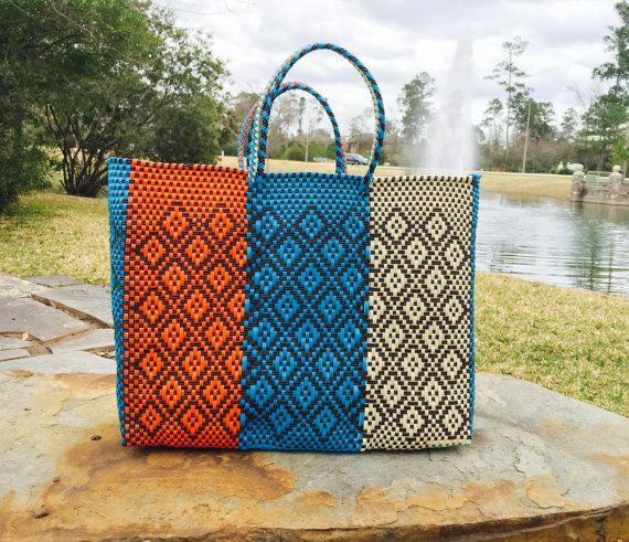 Oaxaca tote bag,Mexico Handwoven plastic bag, Beach bag, summer ...