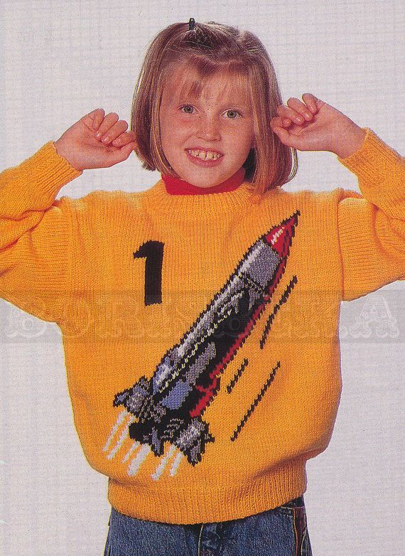 """Vintage """"Thunderbirds"""" sweater knitting pattern for adults ..."""