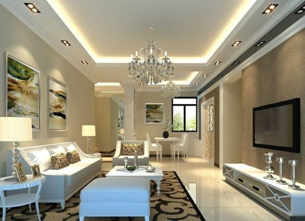 Luxus Wohnzimmer Weiß Sitzecke Versteckte Beleuchtung