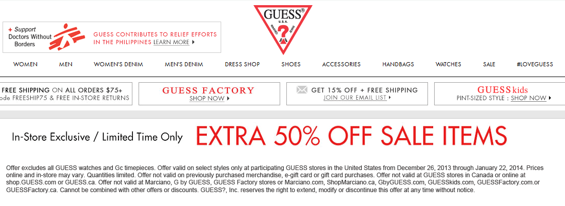 Pinned January 2nd Extra 50 Off Sale Items At Guess