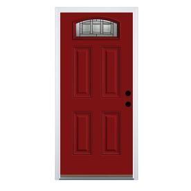 Therma Tru Benchmark Doors Craftsman 1 4 Lite Decorative Glass Left Hand Inswing Real Red Painted Steel Prehung Entry Do Craftsman Style Doors Exterior Doors Entry Doors