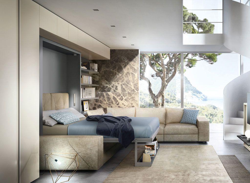 Vertical Queen Wall Bed with Sofa Tango Resource (с
