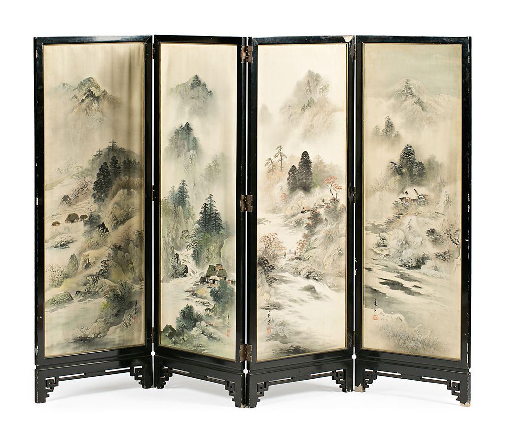 biombo chino de cuatro hojas de mediados del siglo xx