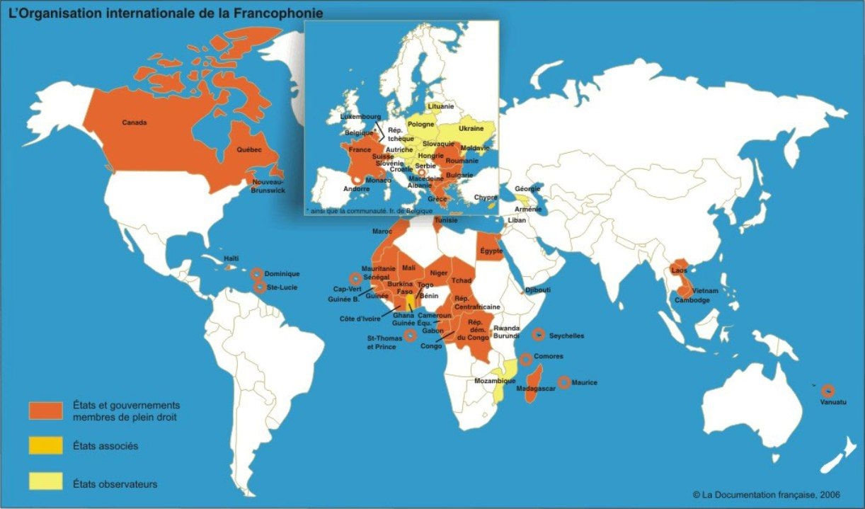 Carte Francophonie Large Map At Link Francophone Countries