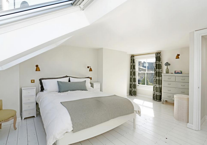 White Floorboards Cream Walls Comfy Bed Loft Conversion
