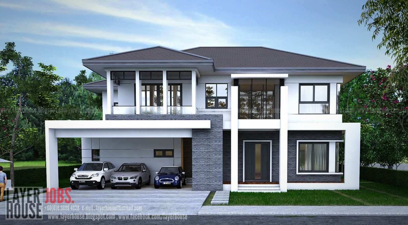 Home Design Plan 17x11m With 5 Bedrooms