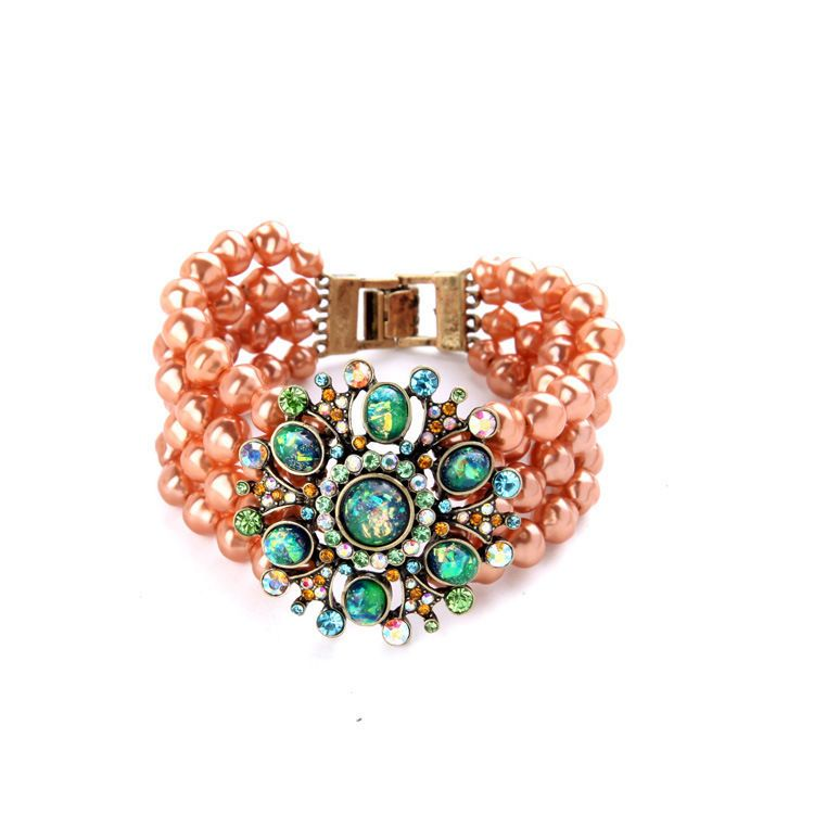 B1392 Adjustable Multilayer Pearls Chains Emerald Stones Nebula Floral  Bracelets 7411e29abece