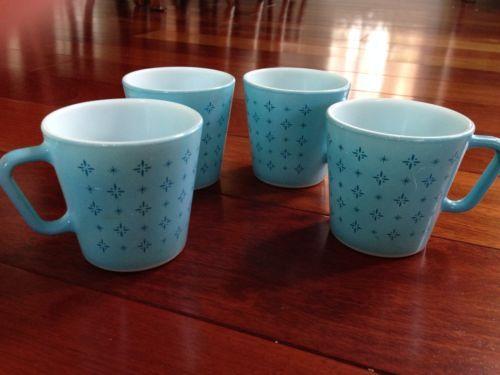 Vtg Rare Set 4 Pyrex Coffee Mugs Cups Blue Foulard Starburst Atomic 1410 Pyrex Mugs