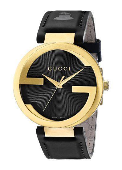681124cf95a Gucci Men s YA133208 Interlocking Grammy Special Edition Analog Swiss  Quartz Black Genuine Leather Watch