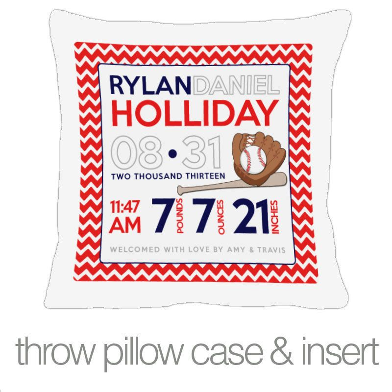 zoey's attic personalized gifts - Birth announcement pillow baseball custom throw pillow with pillowcase, $34.50 (http://www.zoeyspersonalizedgifts.com/products/birth-announcement-pillow-baseball-custom-throw-pillow-with-pillowcase.html)