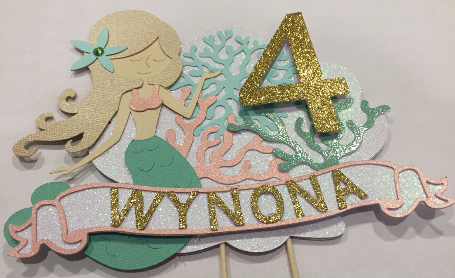 Custom mermaid cake topper available in any colors by