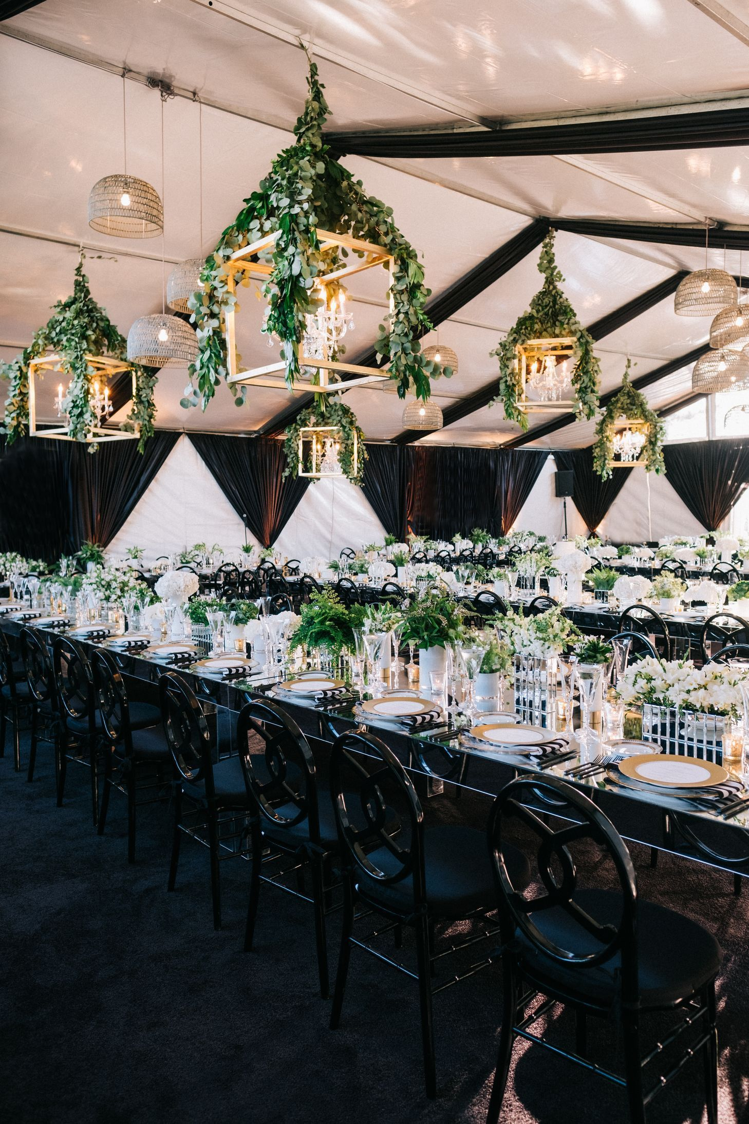 Black White Wedding Reception With Hanging Lanterns Classic