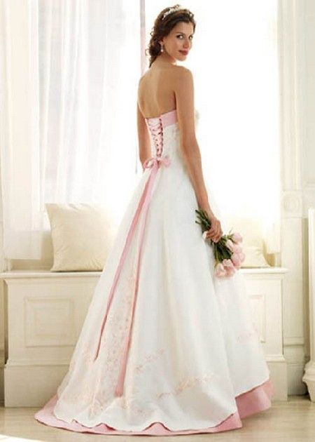 White Wedding Dresses With Pink Accents Wedding Dresses Corset