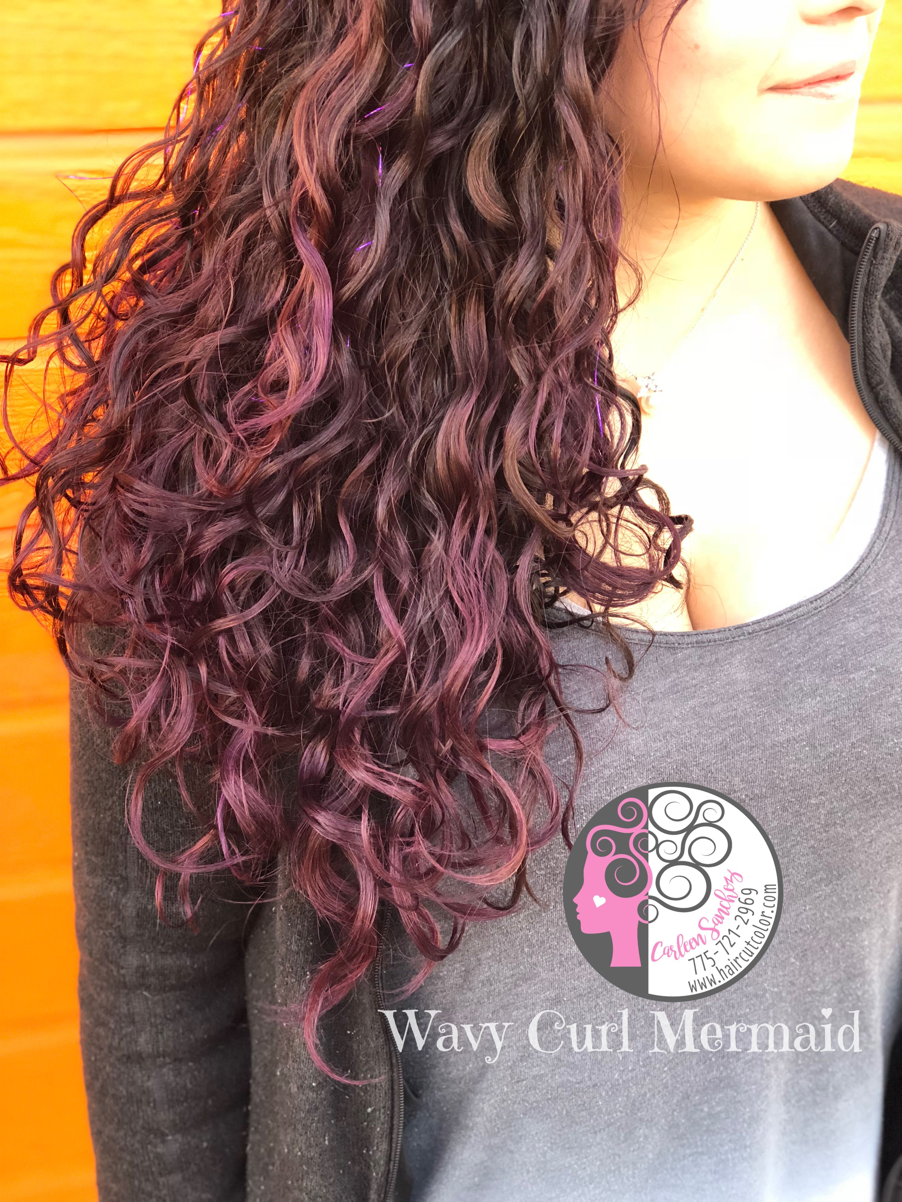 Temporary Wild Orchid Purple Naturally Curly Mermaid Hair By Carleen Sanchez Nevada S Curly Hair And Col Haircuts For Curly Hair Curly Hair Styles Mermaid Hair