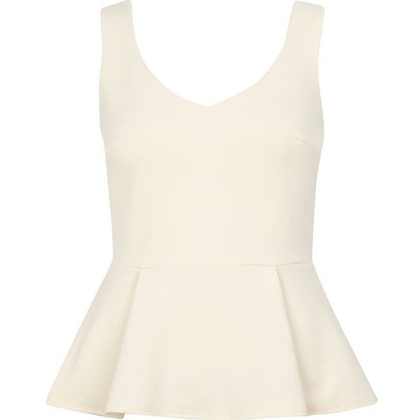 River Island Cream v neck peplum top (39 BRL) ❤ liked on Polyvore featuring tops, shirts, tank tops, blusas, white v neck tank, v-neck shirts, white singlet, white peplum tank and peplum shirt