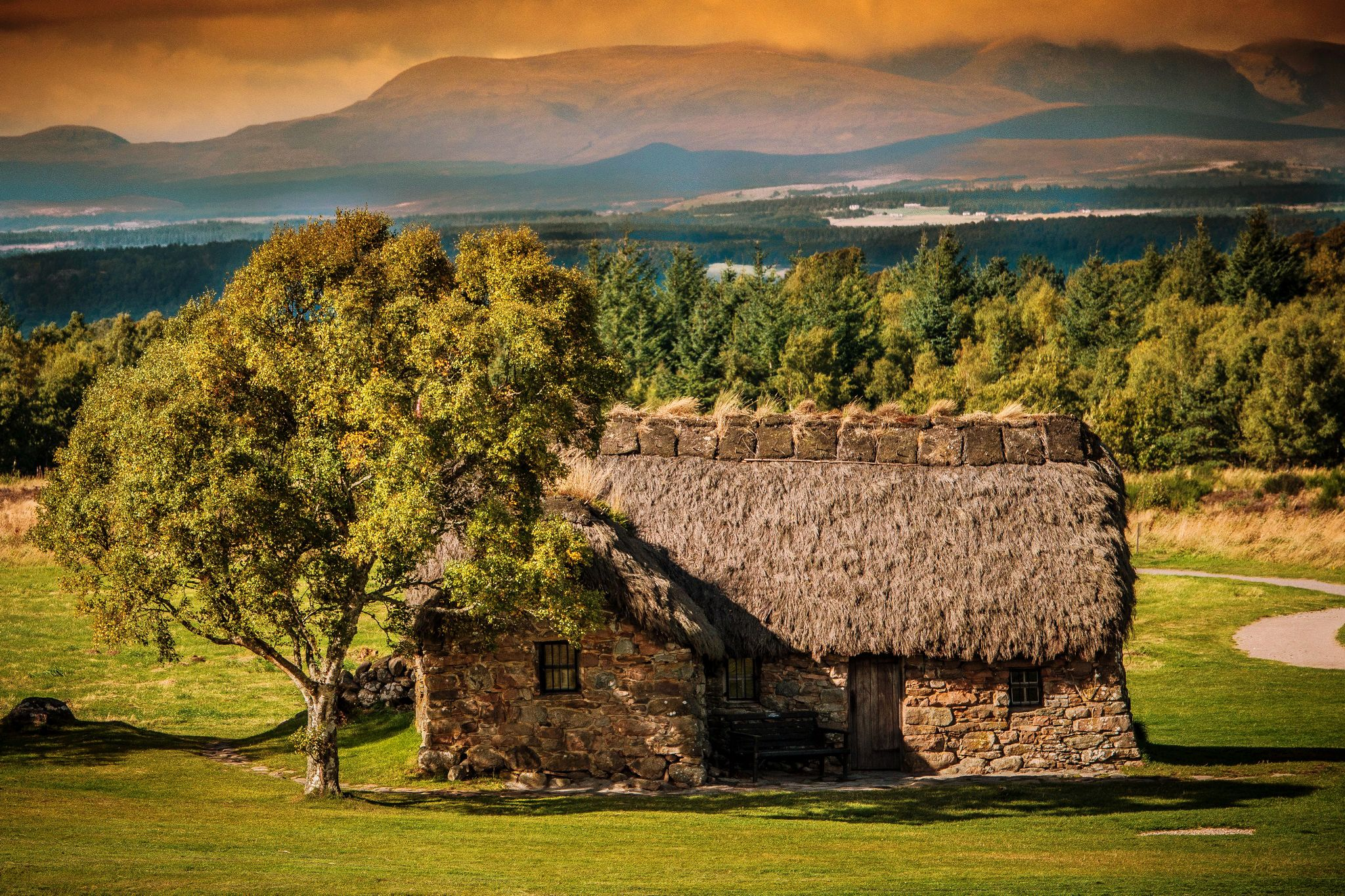 Scotland Houses Scenery Trees Culloden Cities