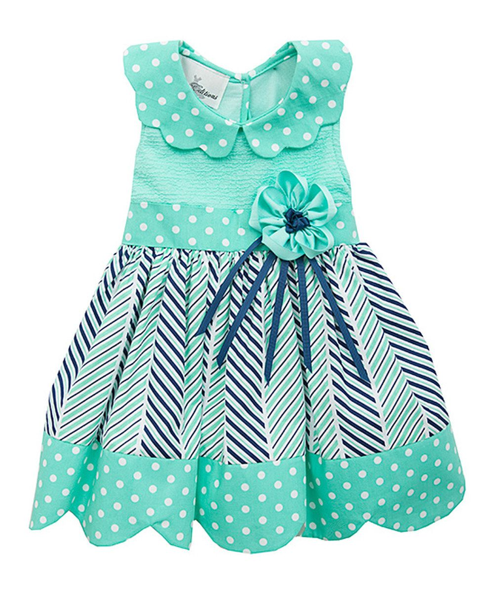 Look at this Mint Polka Dot Dress - Infant, Toddler & Girls on ...