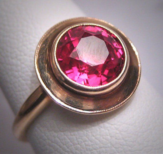 Antique Ruby Wedding Ring Victorian Art Deco Engagement Circa 1900 Gold