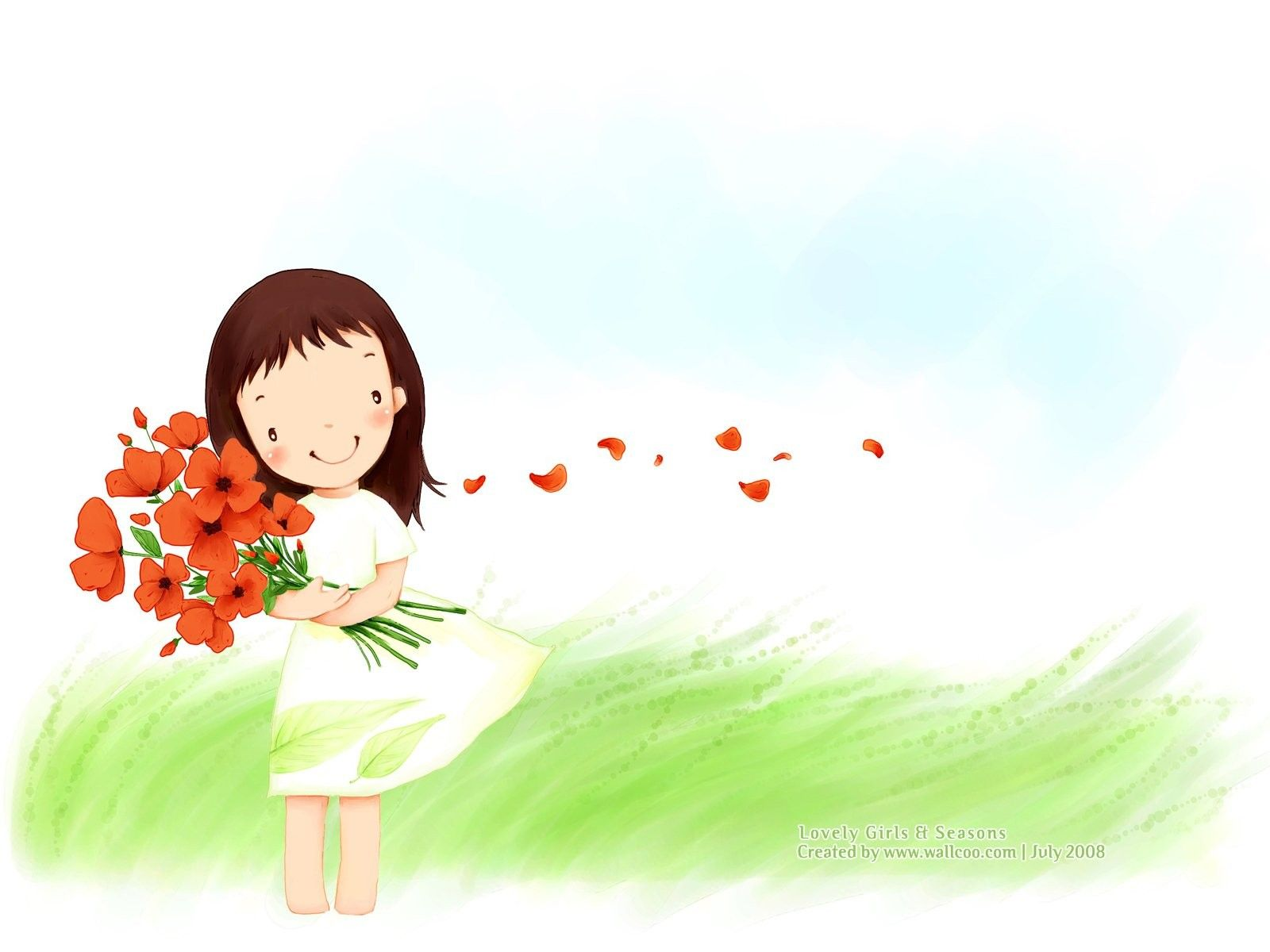 Girl Cartoon Wallpaper Kim Jong Bok Illustration Cute