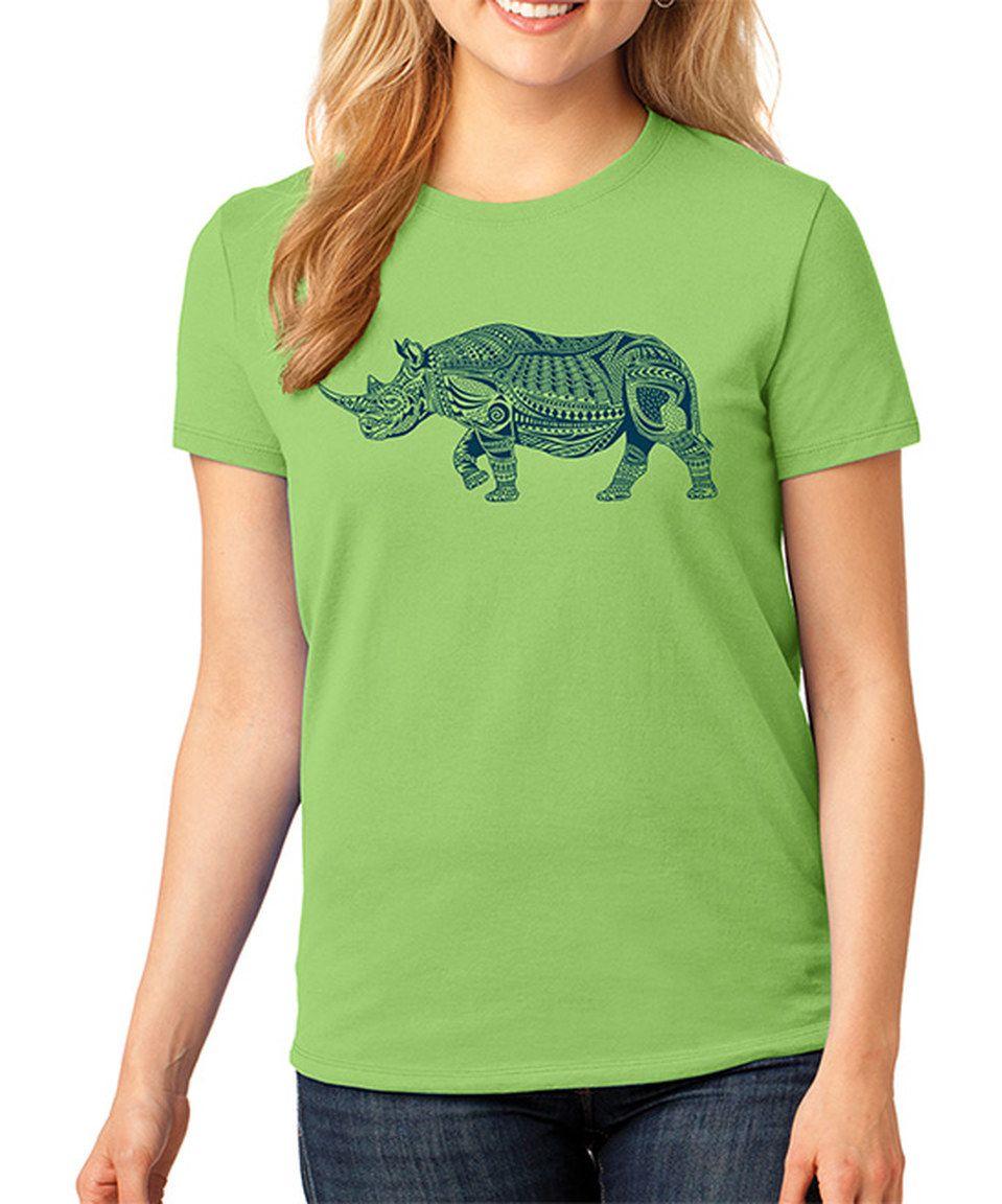 Look what I found on #zulily! SignatureTshirts Lime Geo Rhino Crewneck Tee - Plus by SignatureTshirts #zulilyfinds