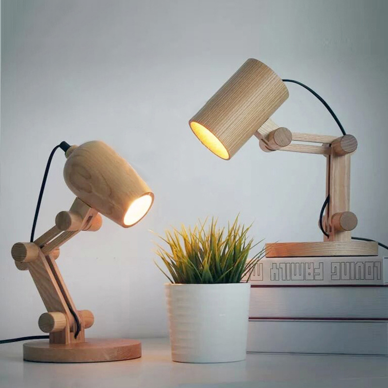 These Unique Wooden Desk Lamps Will Bring A Modern Twist To Any Desk Or Office Space With Two Styles To Cho Wooden Desk Lamp Table Lamp Wood Wood Table Lights