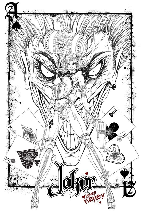 Stunning Coloring Joker And Harley Quinn Coloring Pages In Harley
