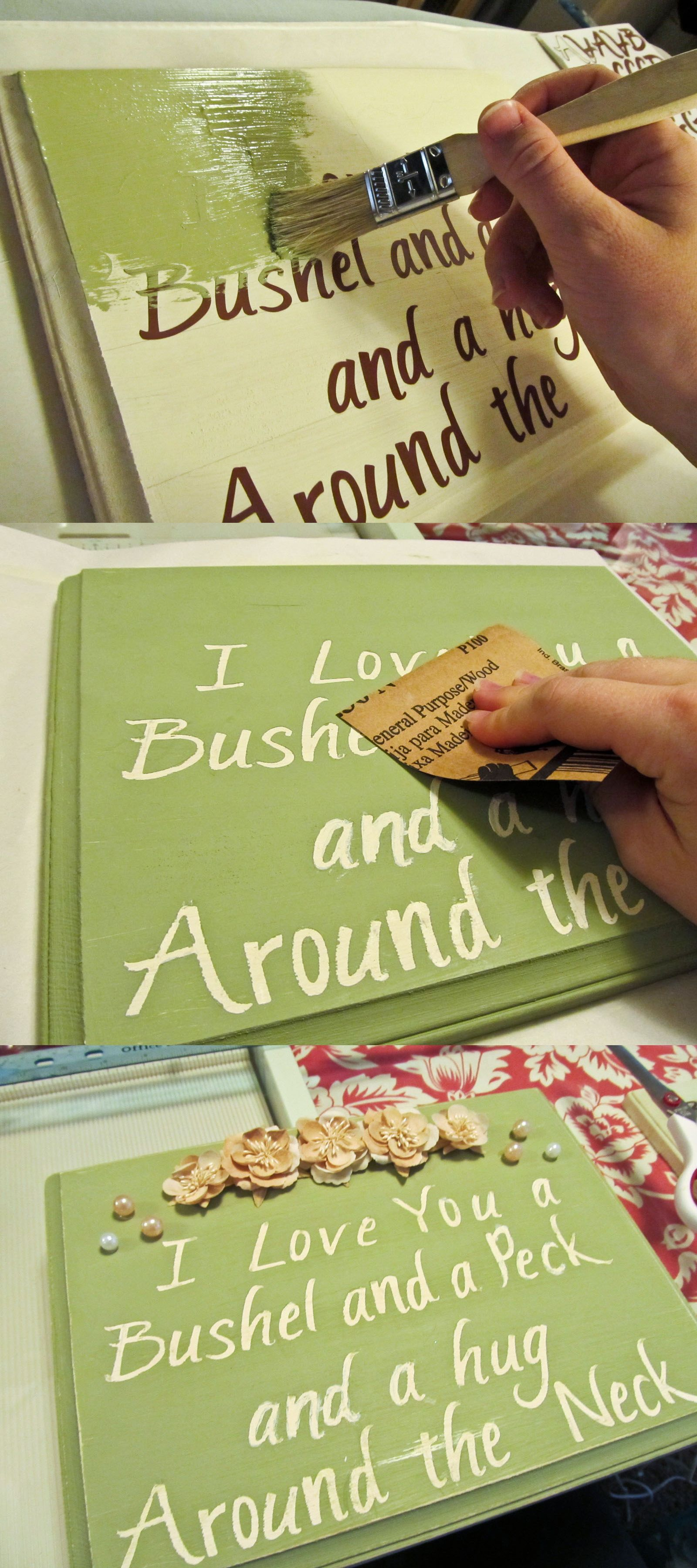 DIY: Wood Sign Made With Stickers! [place stickered letters on ...