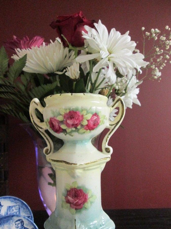Bohemian Czech Hyacinth Bulb Forcing Antique Vase Yellow Blue Pastel