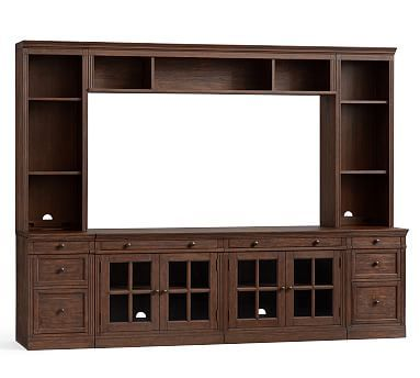 Livingston Medium Media Suite With Drawers 2 Single Drawer Cabinets Double Gl Door 1 Quad Top Tops Bookcase Hutch