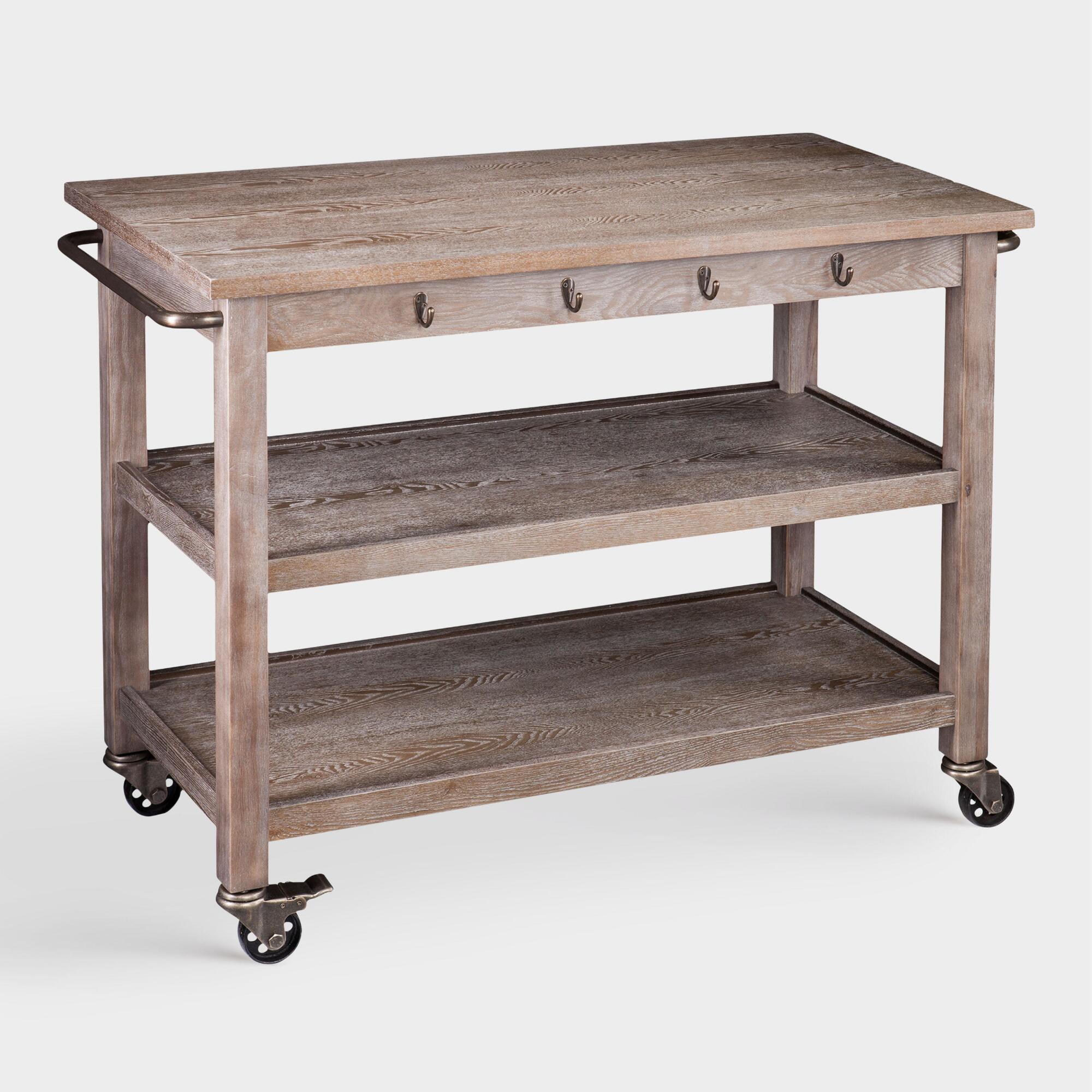 Rustic Oak Wood Dawn Kitchen Cart by World Market | Products ...