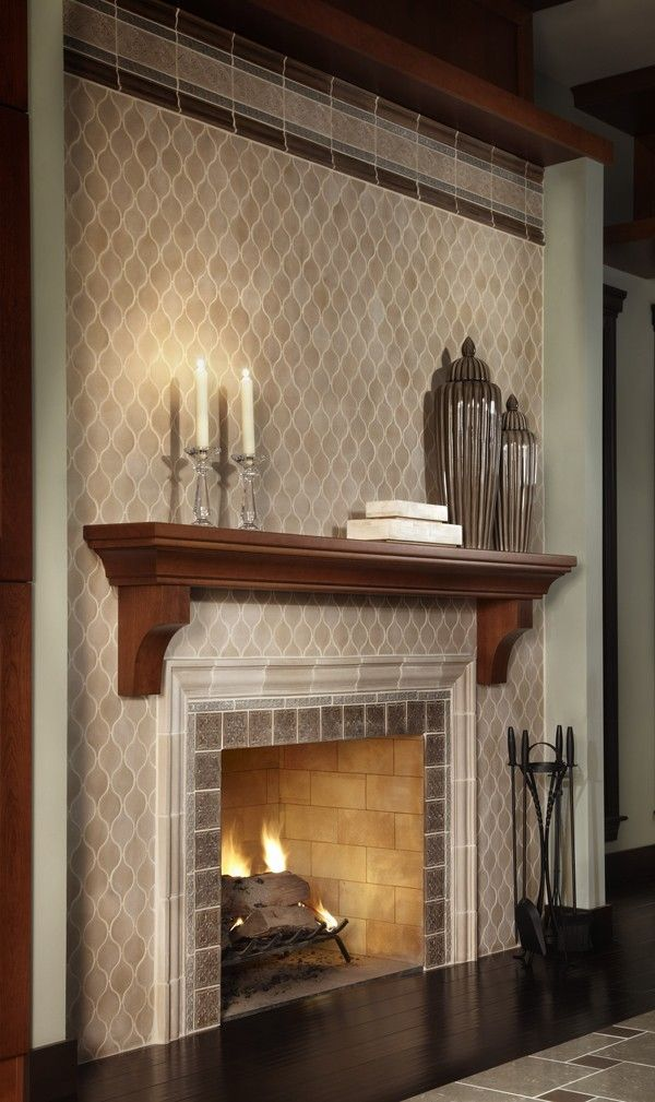 Image Of Outstanding Ceramic Tile Over Brick Fireplace With A Pair