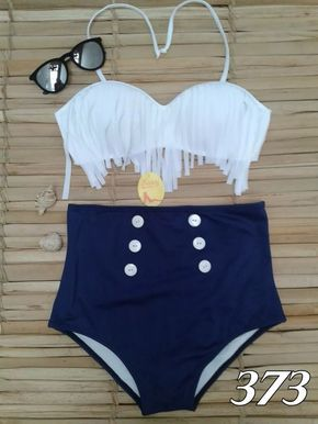 f2b8dd24ea872 Biquíni,hot Pants, Cintura Alta,branco Com Franja - R$ 99,90 em Mercado  Livre