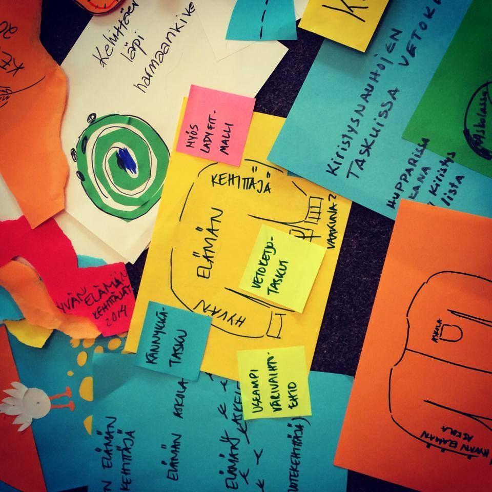 Mitä syntyy kun 20 askolalaista yhteissuunnittelee kuvitusta? No tietenkin iso kasa mahtavia ideoita! Näitä on ilo lähteä työstämään eteenpäin. #hyvääelämääaskolassa #muotoiluhuone #kieloranta #palvelumuotoilu