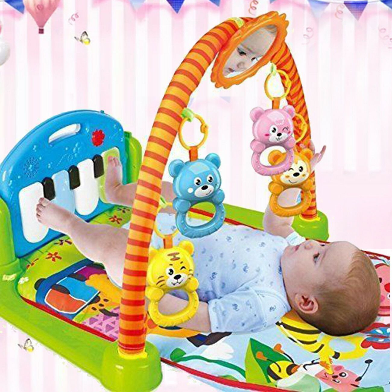 Details about xmas gift baby gym play mat musical activity