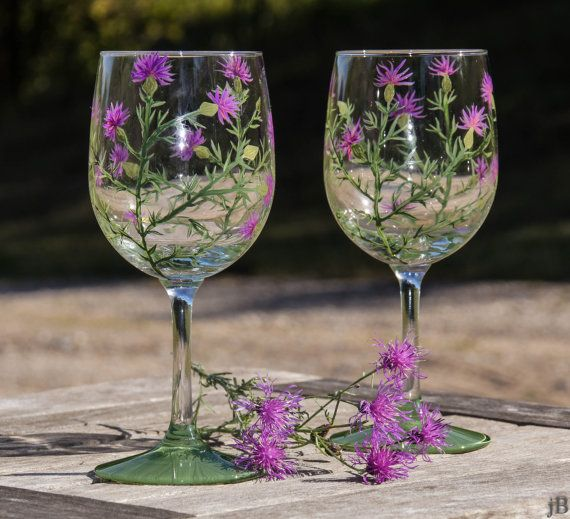 Wildflower Painted Wine Glasses - Set of 2. Glass PaintGlass CraftDecorative ... & Wildflower Painted Wine Glasses - Set of 2   Wildflowers Wines and ...