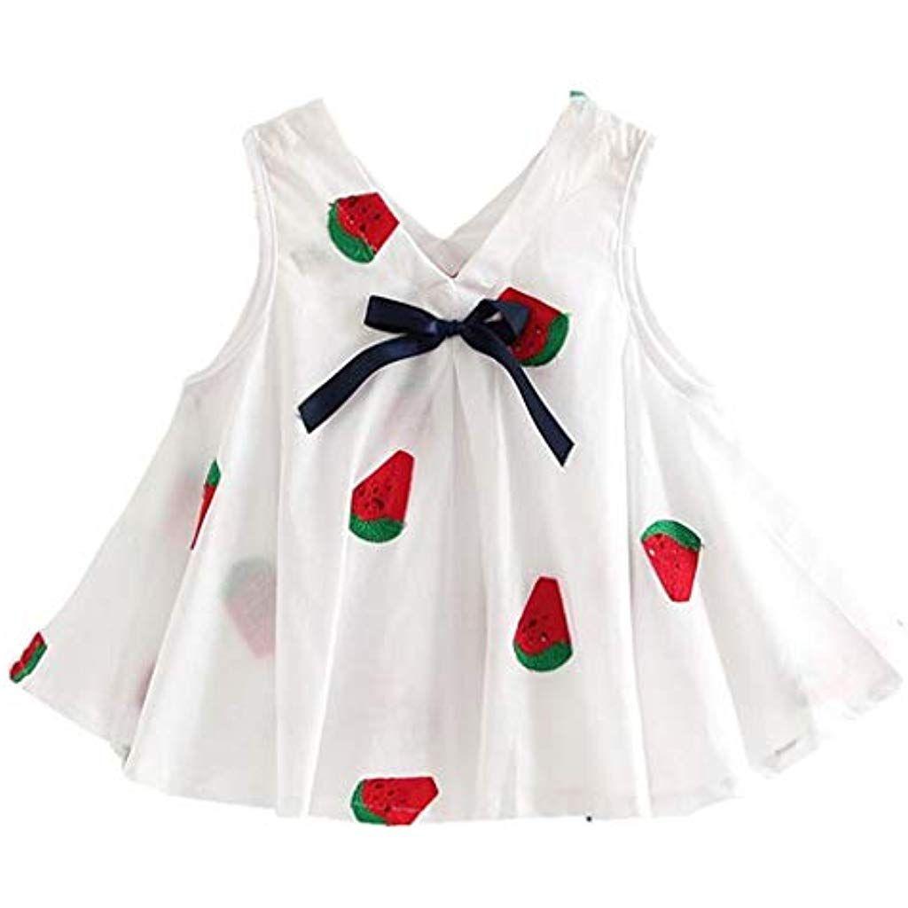 673a13b610cee HELLOSTORE Sweet Robe Fille Mode Pastèque Broderie Bohême Robe de Plage  Bebe Fille Ete Printemps Casual