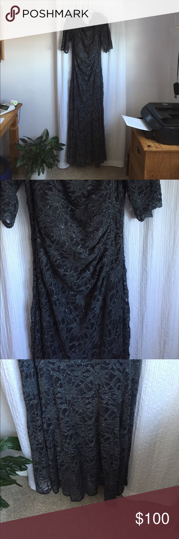 e2225f9f246d Floor length mermaid silhouette. Fully lined. Designed by Nightway. Nightway  Dresses. Special occasion charcoal gray dress, size 16 All over glitter lace  ...